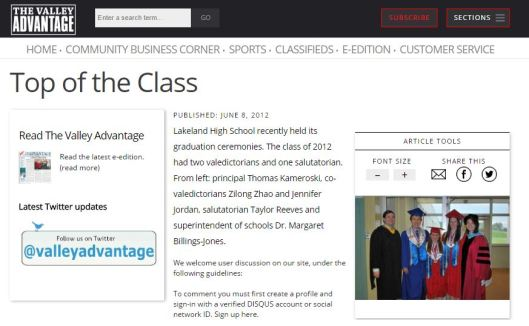 2012 - Lakeland Valedictorian